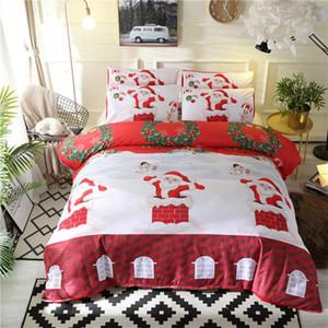 JUSTCHIC 3pcs set Santa Claus Snowman Print Bedding Set Party Home Decor Duvet Cover Set Pillowcase Kids Room Quilt Cover Gifts