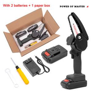 550W 24V schwarzer Mini-elektrischer Kettensäge ein-Hand-Holzbearbeitungs-Lithium-Batterie-Beschneidung Kettensägen-Holzschneider schnurloser Garten wiederaufladbares Werkzeug