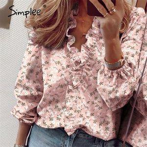 Simplee Pineapple Print Ruffle 블라우스 셔츠 여성 여름 짧은 소매 섹시한 슬림 블라스 캐주얼 문자 사무실 탑 플러스 사이즈 LJ200812