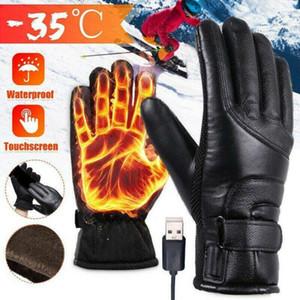 Hombres mujeres calentadas guantes recargables USB calentador de mano guantes eléctricos a prueba de viento Ciclismo Camping Senderismo Skiing Pantalla táctil Guante B1207