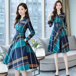 Stinlicher Manga Longa Escritório Stripe Dress Mulheres Camisa xadrez Vestidos Cinto Primavera Outono Roupas