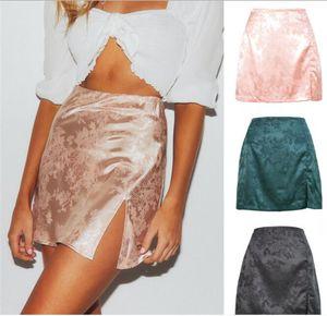 Spalato Satin Silky Skirt Sexy Gonne High Vita Zip Gonne Donne Signore Ragazze Mini corto Fiori floreali Vestito elenziale Party Dinner Vestiti LY120704