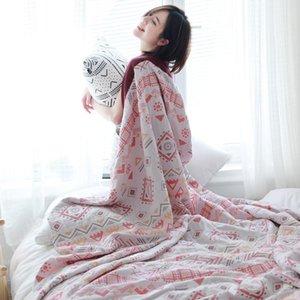Cotton Gauze Five-Layer Towel Sheet Double Summer Thin Blanket Blanket Conditioning Nap Air Gauze Bedspread Quilt Boho Summer