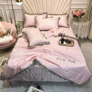 Princess Style Washed Silk Throw Bed Set 4pcs set Ruffles Patchwork Pink Duvet Quilt Bed Summer Quilts Home Cover 4pcs Set Sheet