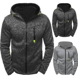 Color Sólido Mens Designer Casacos Moda Loose Zipper Pauled Mens Zipper Hooded Jackets Casual Males Roupas