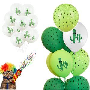 Cute Green Felt Cactus CupCake Toppers Cake Baking Decor Latex Cactu Printed Balloon Baby Shower Birthday Wedding Party Supplies