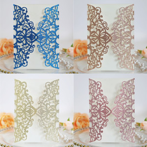 Блеск свадебное приглашение цветок полый лазер вырезать элегантное взаимодействие свадьба пригласительный билет с веревкой и конвертом