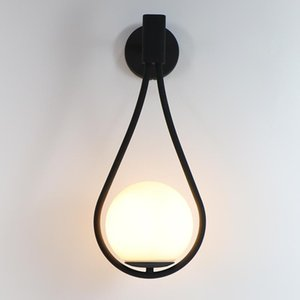 Indoor Wall Lamp Bedroom Wall Light With G9 LED Bulb Gold Black Iron Lamp Body Milk White Glass Lampshade Tennis Racquet Shape