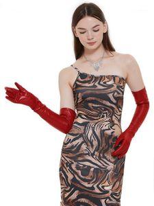 """Пять пальцев перчатки 60 см (23,6 """") Длинные классические простые овцы кожаные вечерние оперы Red1"""