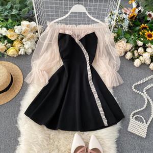 Spring Autumn 2020 New Popular Dress Temperament Word Shoulder Mesh Puff Sleeve Patchwork Short Dress Women A line ML728