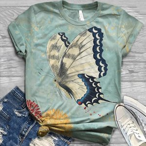 Plus Size Summer Hot Sale Women Short Sleeve 3D Animal Printed butterfly O Neck Tops Tee Blouse Blusa mujer Blusa Feminina LW
