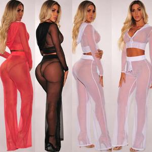New Hot Sale Women Sexy Beach Mesh Sheer Bikini Cover Up Female Hoodie Swimwear Bathing Suit Tops+Pants Set Cover Up Costume