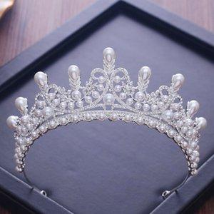 KMVEXO Gorgeous Wedding Tiara Simulated Pearls Jewelry Diadem Shiny Bridal Crown Queen Tiaras Rhinestones Crystal Hair Y1130