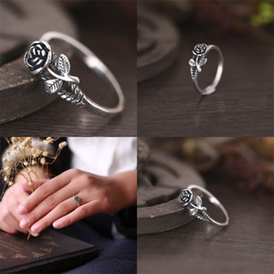 Rose Flower Rings Retro Versatile Sweet Alloy Engagement Wedding Rosering Jewelry Women Lady Gifts Fashion Vintage Accessorie Hot 1 5jy M2