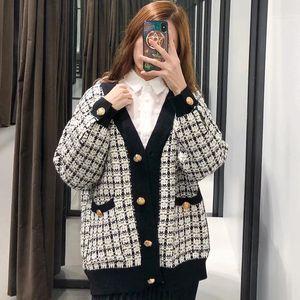 2019 Fashion Women Plaid Autumn Long Outwear Female Chic Single Breasted Loose White&Black Jacket chaqueta mujer B1203