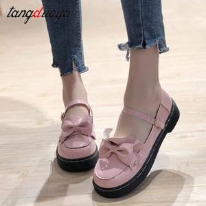 Japanese Kawaii Lolita Girls Heart Sweat Sweat School Zapatos de punta redonda para las mujeres Estudiante Anime Tea Party Finy Lace Ruffle Socks Tea Fiesta # N57K