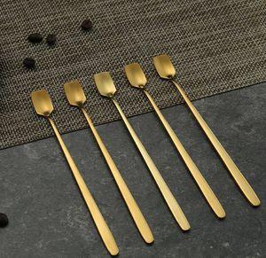 Oro de acero inoxidable cuchara cuadrado del metal cucharas de miel Postres cabeza pequeña cuchara cubiertos recuerdo 13cm 15cm 17cm al por mayor