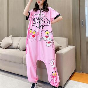 Thailand Tide Brand Hot drilling Cartoon Print Thin Denim Jumpsuit Summer Short Sleeve Casual Overalls Jeans Women