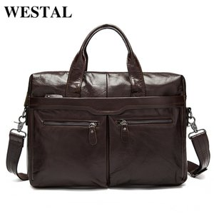 Designer-WESTAL Men's Bag Genuine Leather Messenger Bag Men Leather Men's Shoulder Crossbody Bags for Men Laptop Bags Briefcases Totes