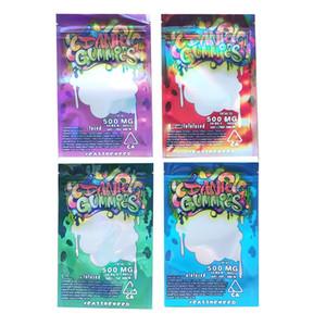 Cheap Hologram 500MG Edibles Dank Gummies mylar bags Packaging empty edibles packaging 4 types Free DHL shipping