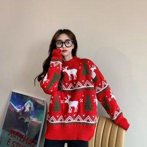 AECU 2020 Femmes Christmas Pull Hiver Pull Ugly Swikers Tricolore Snaute Snowflake Elk Print Pulls et Pulls
