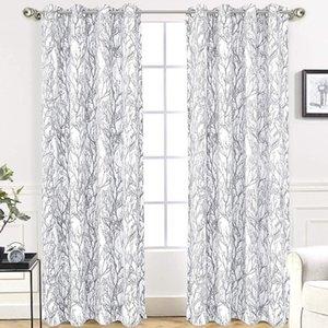 Rama de árbol Patrón Botánico Habitación Oscurecimiento Térmico Aislado Grometa Ventana Cortinas Modernas cortinas de impresión