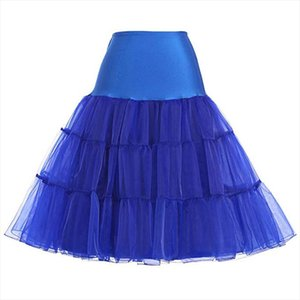 Clearance 2020 Fashion Women 50s Petticoat Skirts Tutu Crinoline Underskirt Blue Color XS 2XL Drop Shipping Good Quality