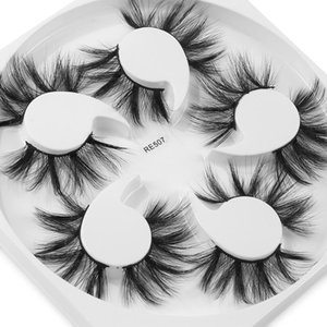 3D Faux Mink False Eyelashes 5 Pairs 20mm Dramatic Makeup Cruelty-free Eyelash Extension Thick Long Handmade Faux Mink Lashes
