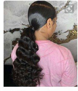 100% Real Remy Human Hair Hair Ponytail # 1B Натуральный цвет Индийская Светальный клип в индийском языке в виде натяжных волн тела 140 г