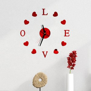 Love New Clock Watch DIY 3D Mirror Surface Sticker Wall Clock Living Room Home Office Decoration Cute Valentine's Day Gift