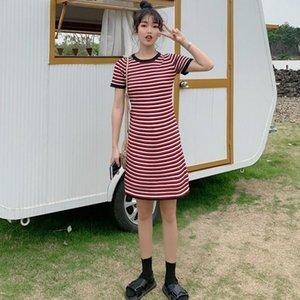 2020 New Stripes Dress Fashion Sexy High Waist Bodycon Knitted Dress Casual O-Neck Short Sleeve Women Straight Mini