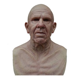 2020 NOUVEAU Old Man Creepy Wrinkle Masque Halloween Costume Realistic Latex Mascarade Carnaval Hommes Visage