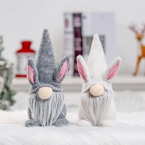 Paskalya tavşan GNOME Beyaz Gri Yüzsüz Bunny Cüce Bebek Severler Çocuklar Paskalya Tavşan Oyuncaklar Bahar Ev Ofis Masa Dekorasyon