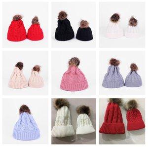 Paprent-child Twist Pom Pom Beanies Crochet Winter Hat Women Kids Children Cuffed Skull Caps Knitted Tuque Ski Slouchy Headwear EWA2555