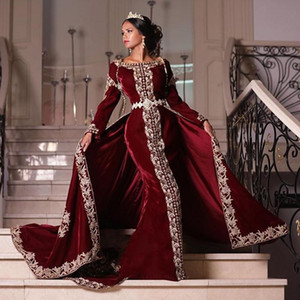 Arabic Mermaid Burgundy Evening Dresses With Detachable Train Beaded Bateau Neck Long Sleeves Prom Gowns Plus Size Velvet Formal Dress