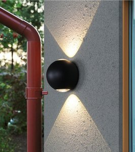 20pcs lot 2*4W New Outdoor Wall Lamps Round Modern Black Up And Down Lighting Aluminum Lamp Waterproof Ip67 AC85-265V