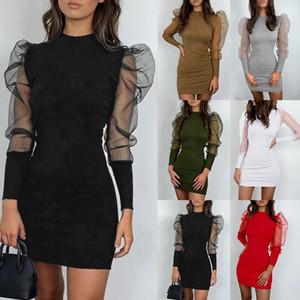 Abiti per le donne 2020 Fashion O-Neck Lantern Sleeve Sleeptive Mise Sleeve Casual Mini Dress Ropa de Mujer 2020