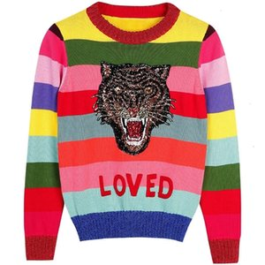 Tiger Sequin Women Color Striped Sweaters Pullovers Runway Lady Winter Knitted Sweater Jumper Clothes P39M