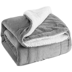 LISM Sherpa sheepskin blanket thick double-layer flannel blanket wool winter warm office shawl