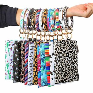 Fashion Multi-purpose PU Leather Flower Leopard Printed Phone Wallet O Key Rings Women Wristlet Bracelets Key Chain Gifts