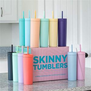 16oz acrílico skinny tumbler fosco copo de plástico dupla caneca caneca de leite eco-friendly colorido colorido tumbler com palha