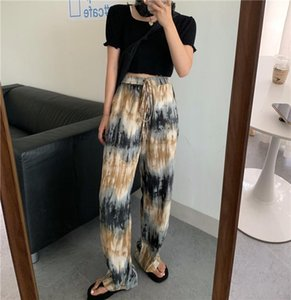 Spring and autumn gradient color tie-dye high-waist wide-leg pants women's autumn new casual pants