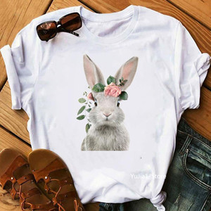 Summer kawaii flower Rabbit Fox Teddy Penguin Alpaca Horse Bear Owl Flamingo Giraffe Pig animal print women funny t shirts top