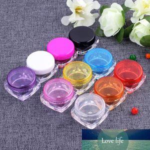 10Pcs 3g 3ml Square Bottom Cream Jar Cosmetic Container Plastic Empty Eyeshadow Makeup Face Cream Lip Balm Pot Travel Bottle