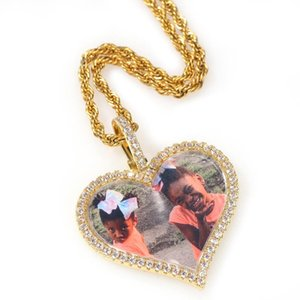 The Bling King DIY Gold Heart Shape Photo Pendant Memory Gifts Couples Shinning Stones Fashion Jewelry With Tennis Chain Q1129