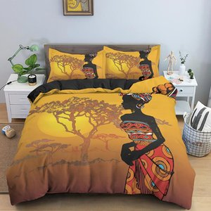 African American Cool Girl Comforter Cover Set Full Queen Exotic Style Black Woman Microfiber Bedding Quilt Sets for Ladies Girl