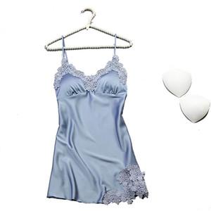 Pigiama Seksi Ipek Gecelik Kadın Kolsuz Askı Gecelik Pijama Kadın Lounge Gece Elbise Ev Sleepshirt Nighty S923