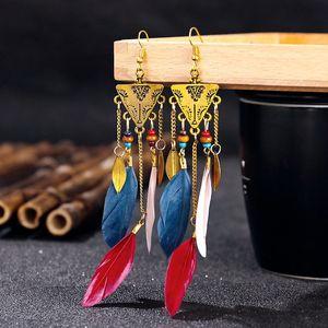 Bohemian retro ethnic feather earrings, ladies hot selling fashion style new tassel earrings wooden bead earrings
