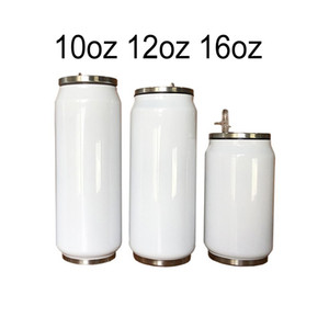 10 12 16oz Sublimation Cola Can DIY 350ml Water Bottle Thermos Double Walled Stainless Steel Cola Shape Tumblers Insulated Vacuum with Lid