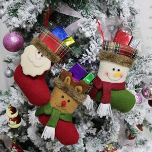 2018 New Christmas Stockings Candy Bags Snowman Elk Santa Claus Gift Bags For Children Christmas Tree Hanging Ornament Christmas Decoration
